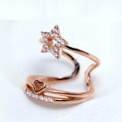 925純銀戒指鑲鑽開口戒-多層星星愛心造型情人節生日禮物女飾品2色73dt289【獨家進口】【米蘭精品】