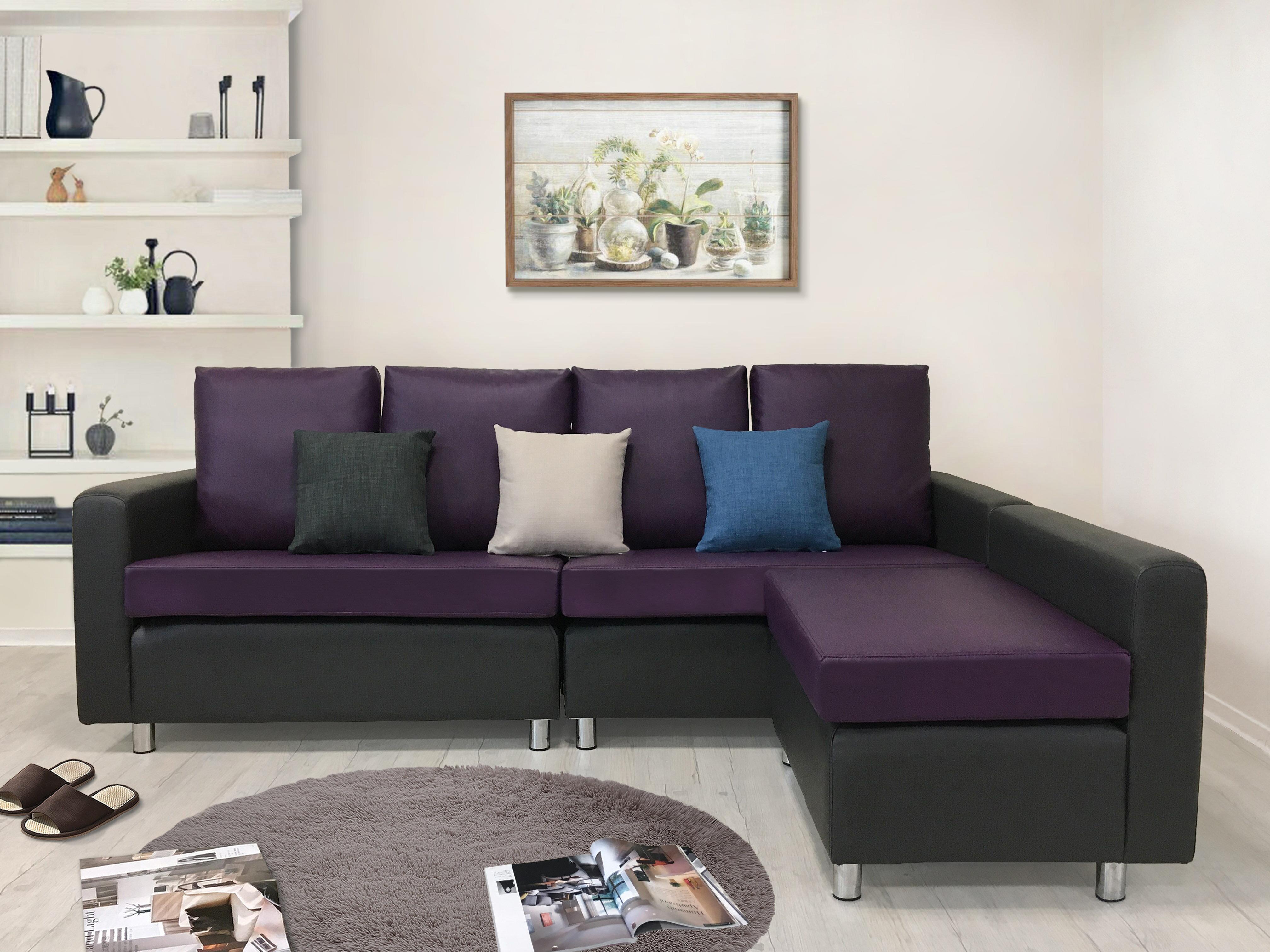 !新生活家具!《福祿雙全》簡約 素雅 布沙發 皮沙發 四人位沙發+腳椅 L型沙發組 多色可選