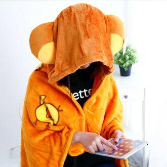 正版拉拉熊披肩毯 帽毯 刷毛毯 保暖被 毛毯 懶人毯 冷氣毯 毯子 懶熊 拉拉熊 Rilakkuma 懶懶熊 三麗鷗【B062286】