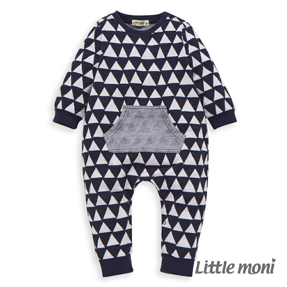 Little moni 幾何織紋連身褲-深藍 - 限時優惠好康折扣