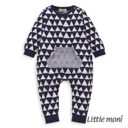 Little moni 幾何織紋連身褲-深藍