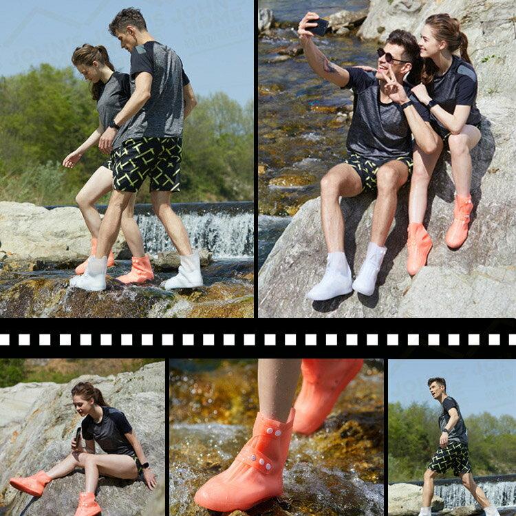 一體式全防水軟膠雨鞋套 4色可選 防水防滑耐磨戶外雨具 雨靴成人鞋套雨天旅行騎車 男女通用【ZJ0501】《約翰家庭百貨 6