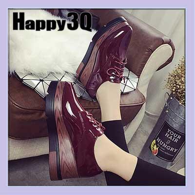歐美英倫風厚底綁帶漆皮亮皮尖頭楔型鬆糕鞋-黑/紅35-39【AAA0652】