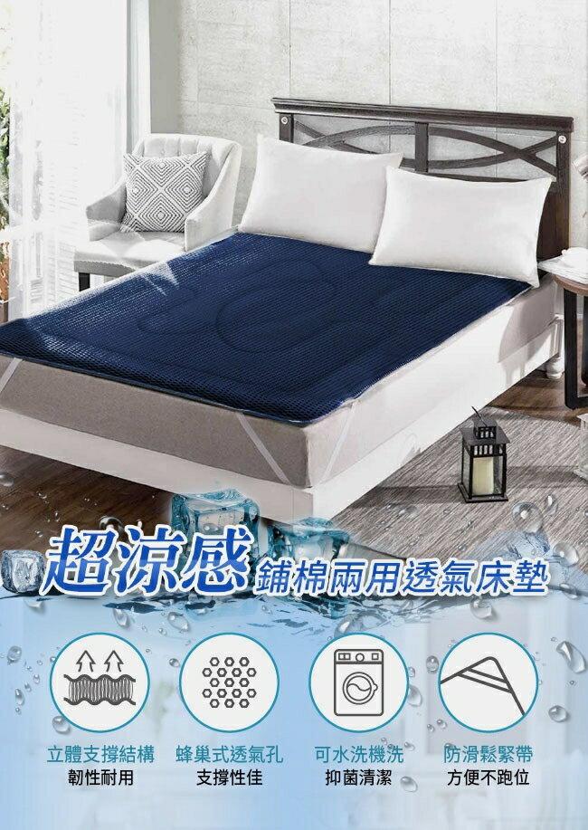 MIT台灣精製 4D超涼感吸濕排汗(雙人)透氣床墊 涼感墊 涼墊  星際藍