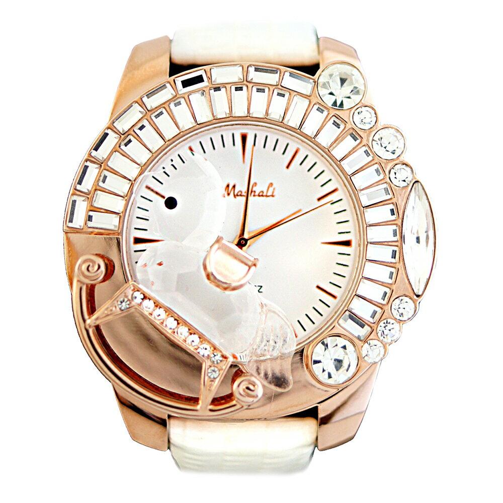 MASHALI 6416 立體水晶小木馬鑲鑽皮帶錶