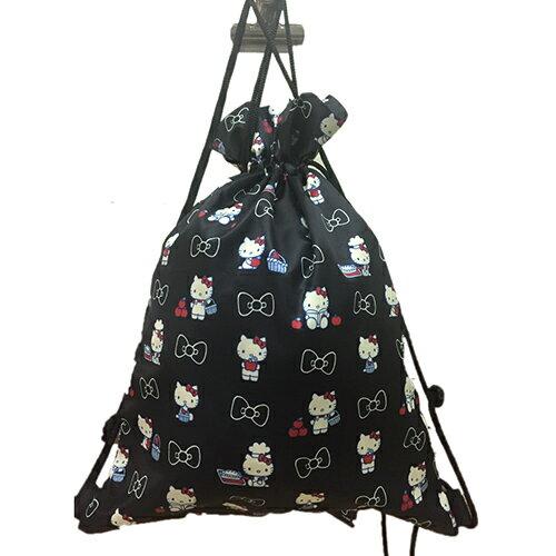 【真愛日本】17041700034 束口袋後背包-KT滿版蘋果黑 三麗鷗 Hello Kitty 凱蒂貓 提袋 後背 收納包 束口袋