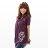 棉T--優雅率性中國風銀色個性龍紋寬版垂皺短袖上衣(黑.灰.紅.紫S-XL)-U106眼圈熊中大尺碼 1