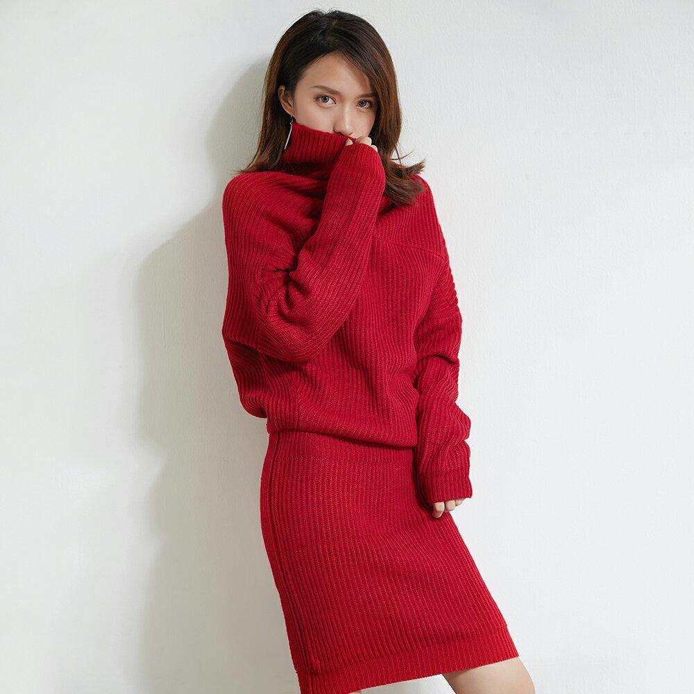 LINAGI里奈子精品【MISS165-98】韓KOREA 流行時尚翻領好搭長袖毛線連身裙