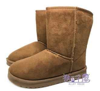 【巷子屋】女款素色溫暖刷毛中筒雪靴 [SH3] 超值價$198