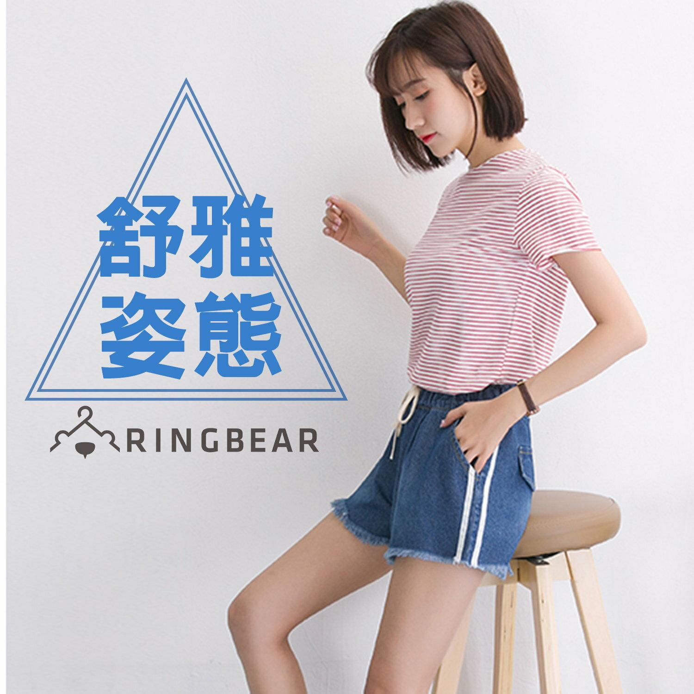 牛仔短褲--運動休閒夏日風格慵懶個性滾邊設計單寧抽繩短褲(藍S-5L)-R189眼圈熊中大尺碼 0