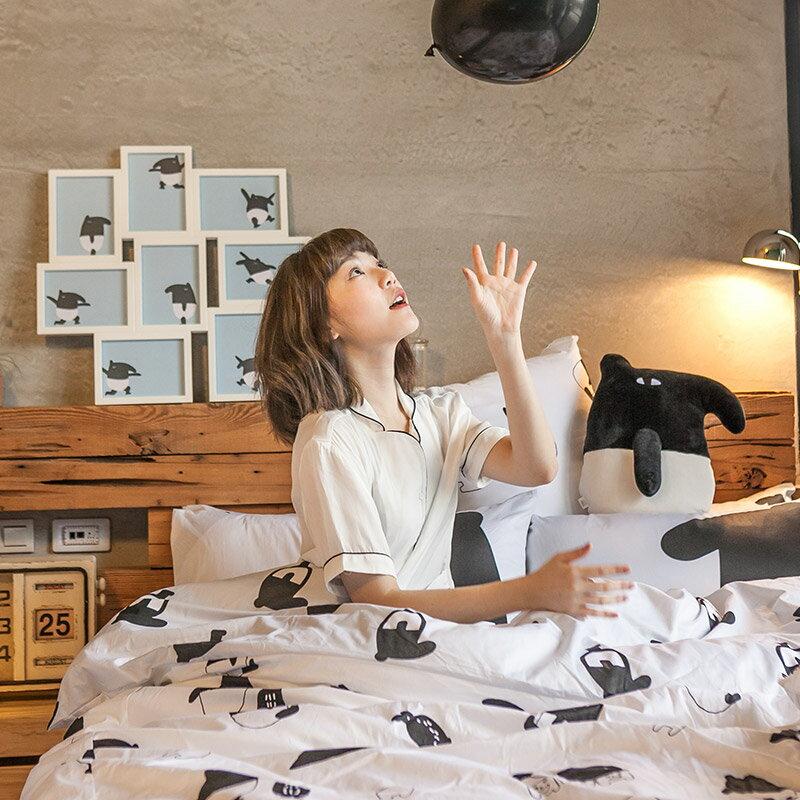 床包  /   雙人-100%精梳棉【經典黑白款-馬來貘的日常】含兩件枕套 獨家人氣插畫家 聯名款 戀家小舖 台灣製 6