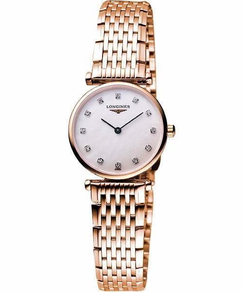 LONGINES L42091978玫瑰金嘉嵐石英超薄真鑽腕錶/白貝面24mm