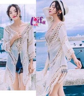 來福罩衫,V233罩衫六分袖酷寶長版流蘇海邊罩衫可內搭游泳衣泳裝比基尼正品,單罩衫售價650元