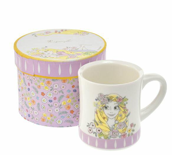 X射線【C301002】日本代購-彩繪公主花朵馬克杯(長髮公主),陶瓷杯/水杯/玻璃杯/茶杯/咖啡杯/交換禮物
