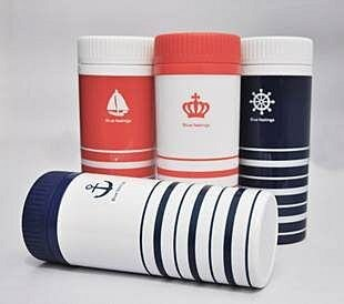 =優生活=2015 新款塑料水杯 海軍風雙層保溫杯 隨手杯 防漏水杯 300ML f