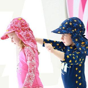 夏季兒童帽子護頸防曬沙灘帽男童女童防曬游泳帽