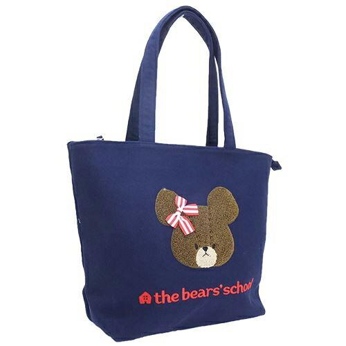 深藍色款【日本正版】小熊學校 刺繡 棉質 托特包 肩背包 the bear\