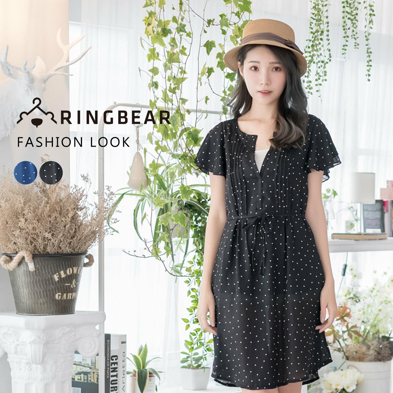 氣質洋裝--性感心機輕甜V領點點荷葉短袖附綁帶雪紡連身裙(黑.藍XL-5L)-D409眼圈熊中大尺碼 1
