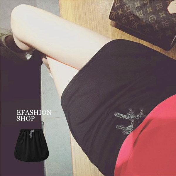 中大尺碼腰抽繩內短褲棉質短裙-eFashion預【H16662014】