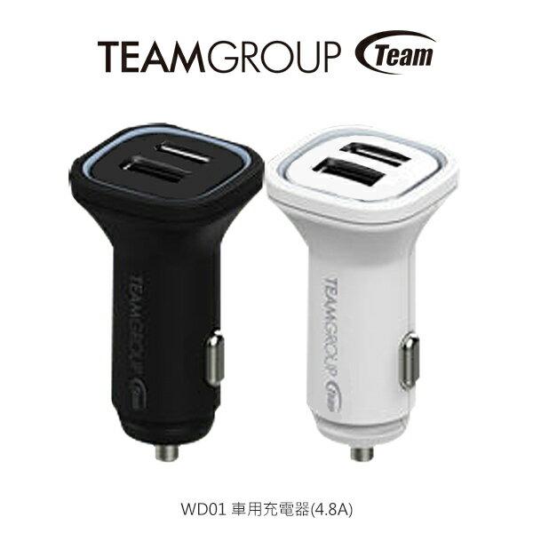 強尼拍賣~TeamWD01車用充電器(4.8A)USB雙接頭快速充電相容各品牌手機與平板自動調整輸出電壓