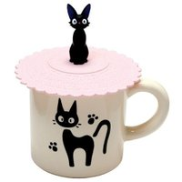 魔女宅急便周邊商品推薦【真愛日本】14050100014 矽膠杯蓋-黑貓蕾絲粉 魔女宅急便 黑貓 奇奇貓 日本帶回