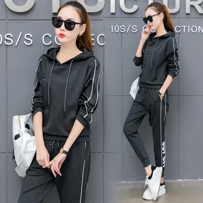 FINDSENSE G6 韓國時尚 運動套裝 休閒 跑步 運動裝 顯瘦 衛衣 長褲 九分褲 兩件套