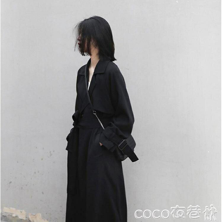 風衣外套 風衣2021新款中長款寬鬆韓版氣質流行英倫風垂感黑色女士秋季外套【居家家】