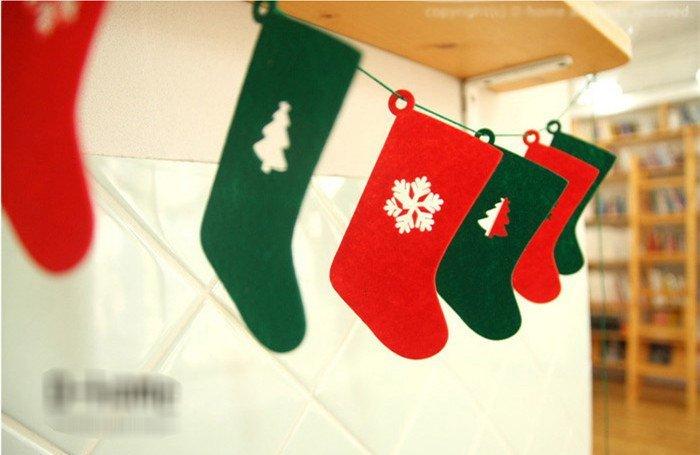 =優生活=韓國聖誕節派對裝飾聖誕襪造型店鋪裝飾兒童帳篷裝飾 聖誕襪旗 聖誕裝飾