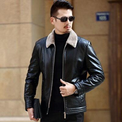 皮衣夾克外套-翻領皮毛一體加厚男夾克3色73pn6【獨家進口】【米蘭精品】 2