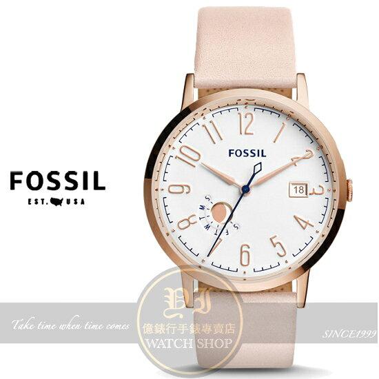 FOSSIL美國品牌Vintage復刻風尚腕錶-棉花糖粉/40mm ES3991公司貨/禮物/情人節