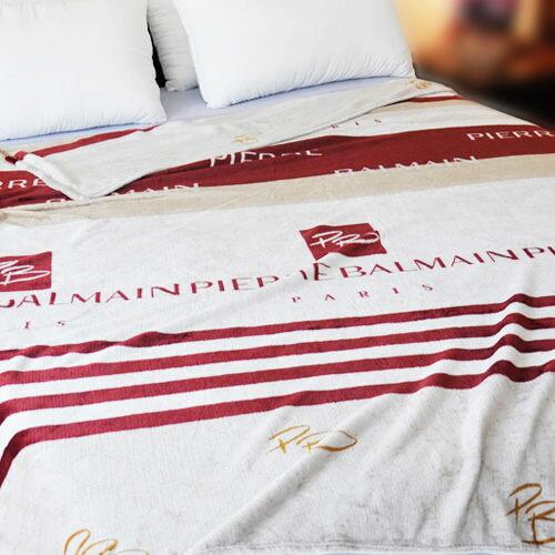 【典雅條紋】雨傘牌 法蘭絨舒眠保暖毛毯 ◆ HOUXURY台灣製