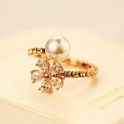 玫瑰金戒指鑲鑽銀飾-時尚滿鑽花朵造型母親節生日情人節禮物女飾品73by13【獨家進口】【米蘭精品】