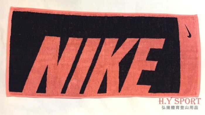 【H.Y SPORT】NIKE AC2383-835 運動毛巾 健身運動 吸汗 純棉 藍粉黑勾 (中) 正版公司貨