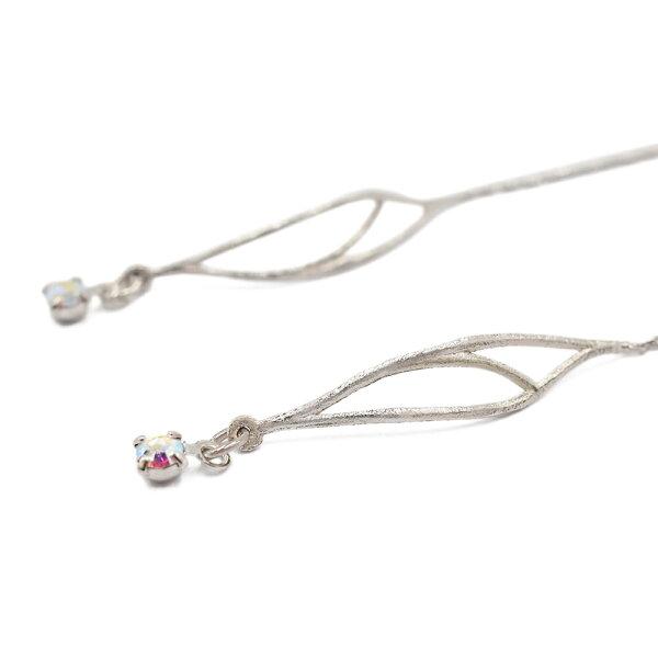 〔APM飾品〕日本Zoule盎然枝葉浪漫線性耳環(銀色)(含耳夾款)(抗過敏)
