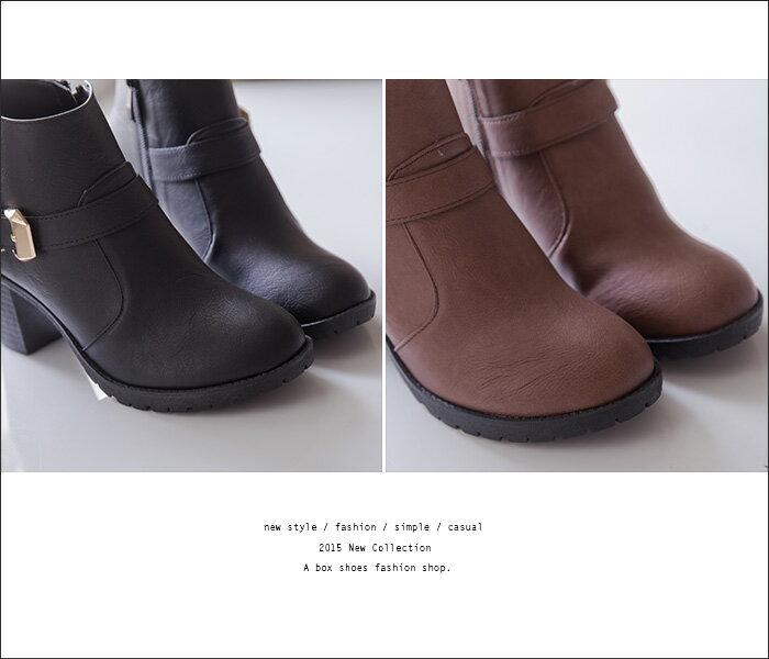 格子舖*【KD5103】MIT台灣製 摩登流行款 高質感素面皮革 金屬拉環內拉鍊 粗高跟短靴 3色 2