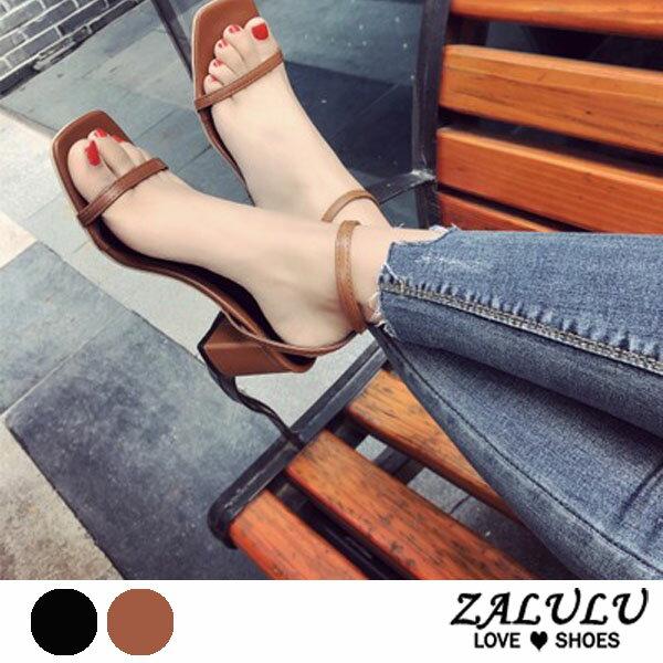 ZALULU愛鞋館7DE281預購一字繩高跟皮質涼鞋-黑棕-35-39