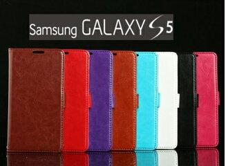 S5手機套 Samsugn Galaxy S5 / I9600 印花羊皮紋側掀站立皮套 手機套 保護套