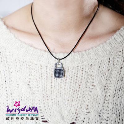 白鋼男項鍊 鎖頭設計 情人節 生日 威世登時尚珠寶 送精緻皮繩 禮物