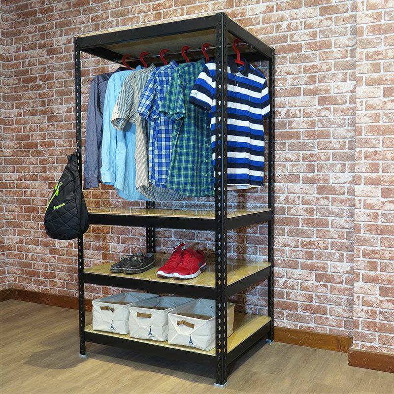 消光黑衣架 儲藏櫃 組合架 衣櫥 衣櫃收納櫃 (3x2x6尺) 空間特工【CLB34】