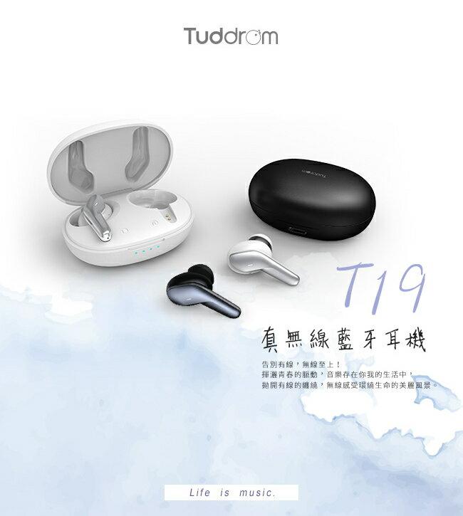 志達電子 Tuddrom小魔鴨 T19 真無線藍牙耳機   人體工學設計斜角入耳設計 觸摸控制,免持通話