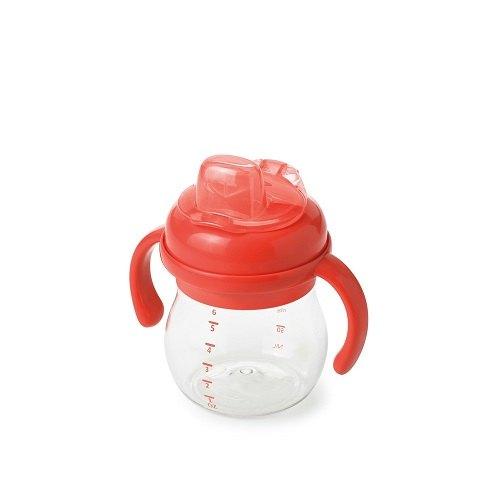 【淘氣寶寶】【美國oxo】OXO Grow TM 可拆卸 手把 矽膠鴨嘴訓練杯 - 橘色 6oz / (150ml)【總代理公司貨】