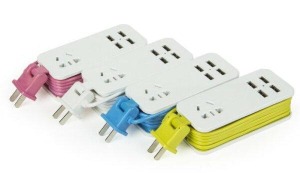 超實用可擕式4USB旅行USB排插轉換器插排✤朵拉伊露✤