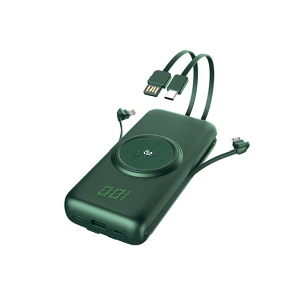 五合一自帶線20000mAh無線行動電源 現貨 當天出貨 移動電源 充電寶 隨身充電器【刀鋒】