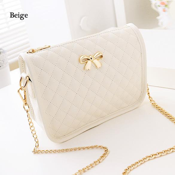 Synthetic Leather Casual Bow Shoulder Bag 5