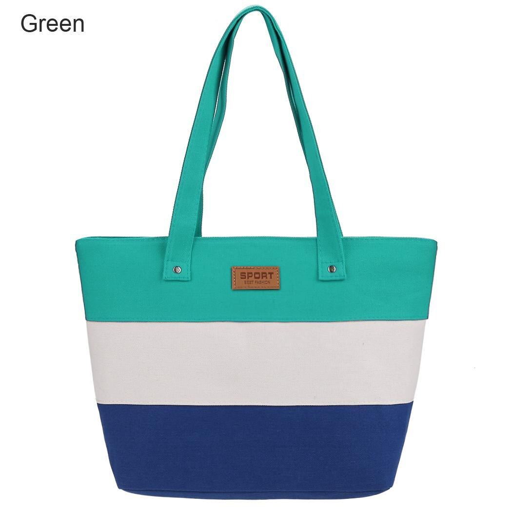Women Large Capcity CanvasStripe Contrast Color Handbag 1
