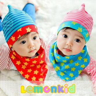 WallFree窩自在★時尚小星星條紋舒適彈性兒童套頭帽+三角巾 2件套