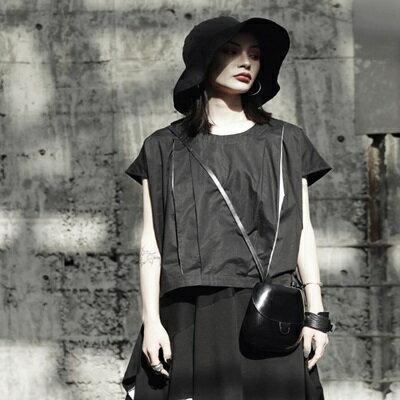 短袖T恤短款-時尚黑白拼接寬鬆女上衣73sl19【獨家進口】【米蘭精品】