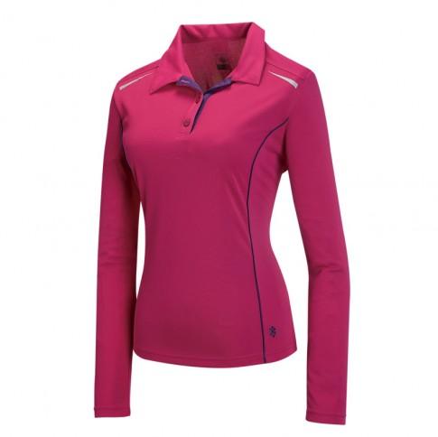 【【蘋果戶外】】山林31P08-34深桃紅Mountneer女透氣排汗抗UV長袖上衣吸濕排汗衣防曬抗UV彈性