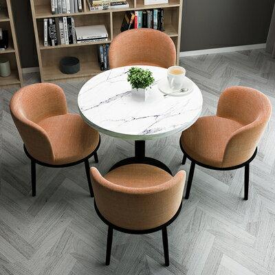 接待洽談桌簡約接待洽談桌椅組合網紅小圓桌陽臺休閒沙發椅店鋪會客餐桌椅子『DD2226』 2