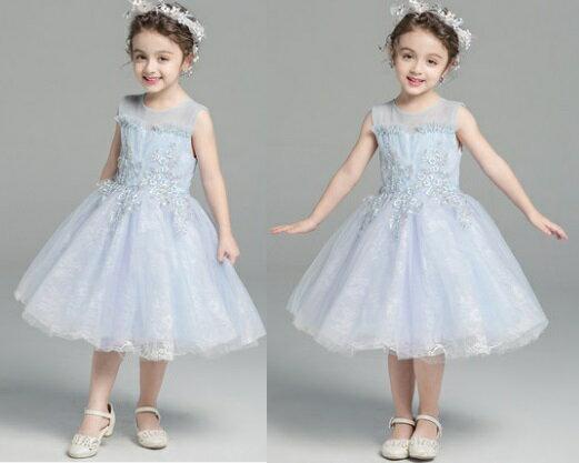 天使嫁衣【童L0245】淺藍色華麗蕾絲澎感女童小禮服˙預購訂製款